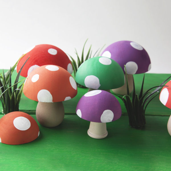 """2"""" split wood balls paired with candle cups to make adorable little mushrooms"""